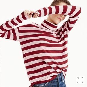 J.Crew Deck Striped Turtleneck Shirt Pink Red Top
